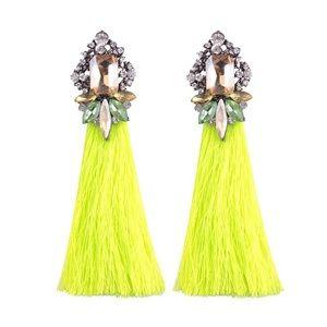 Bright Jewelled Tassel Earrings